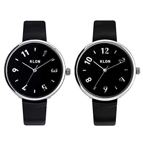 KLON PASS TIME DARING【BLACK SURFACE】38mm 腕時計 レディース メンズ うで時計 黒 ベルト 本革 ペア ペアウォッチ PAIR WATCH カップル シンプル ユニセックス ブラック おしゃれ 日本製 ムーブメント 生活防水 ビジネス (ペアセット)