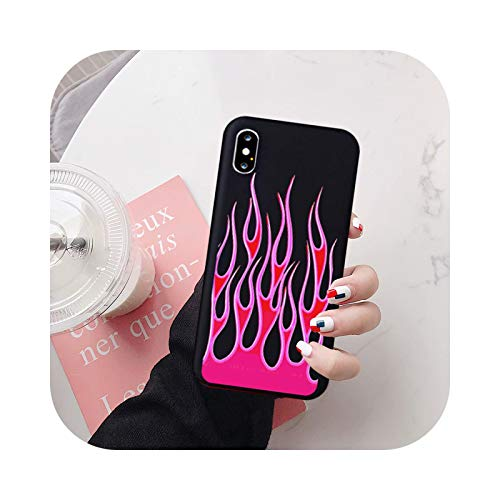 Fashion Flame Pattern Phone Case For iPhone X XS MAX 11 Pro 12 XR 7 8 6Plus SE20 Black Red Soft Silicone Back Cover Capa-Style 6-For iPhone 8 Plus