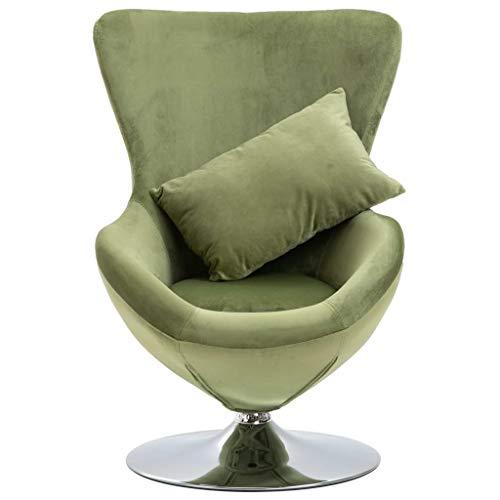 Tidyard 360 Grad Drehstuhl in Ei-Form mit Kissen Sessel Drehsessel,Relaxsessel Fernsehsessel Drehsessel Loungesessel Stuhl,Gesamtgröße:64 x 64 x 86 cm (B x T x H),Hellgrün