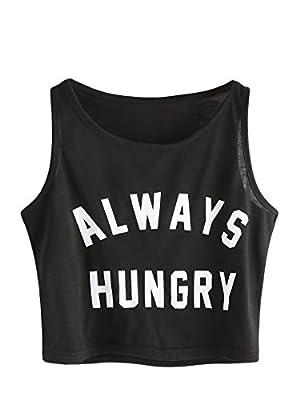 SweatyRocks Women's Summer Sleeveless Letter Print Casual Crop Tank Top Shirts Black L
