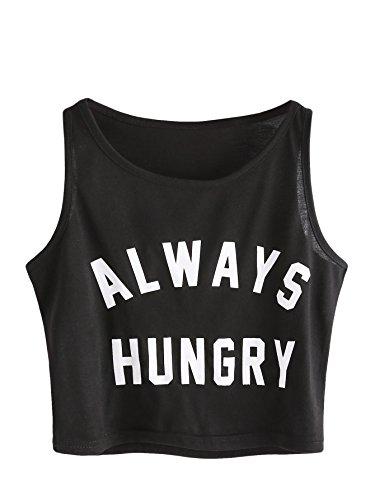 SweatyRocks Women's Casual Sleeveless Round Neck Workout Crop Tank Top Shirts Black M