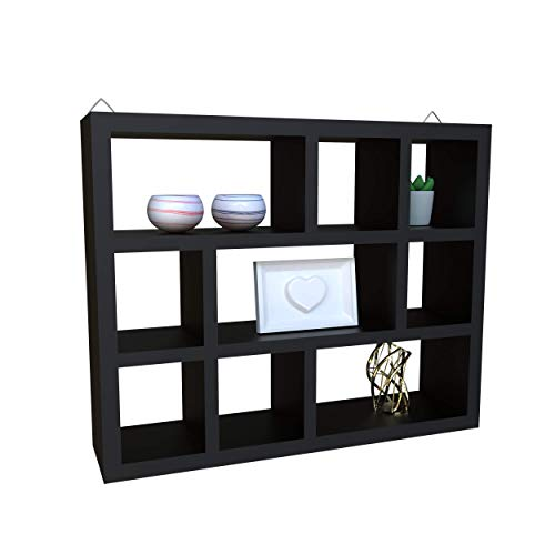 Floating Wall Home Decor Shelves; 3 Tier Corner Cube Wall Mounted Hanging Book Shelf Decor for Bedroom and Living Room; 16.6 x 2.8 x 11.9 Inches (LxWxH) (Black)