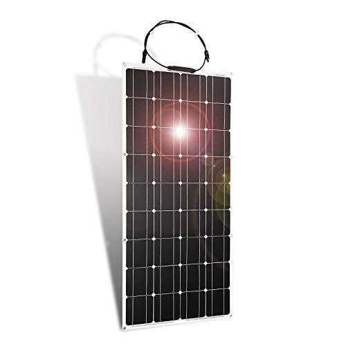 Dokio 100W 12V/24V Monocrystalline Flexible Ligero con Solar Cargador para carga Batería de 12v, para RV, Barco, Cabina, Tienda, Coche, Remolque, cualquier otra superficie irregular Solar MC4