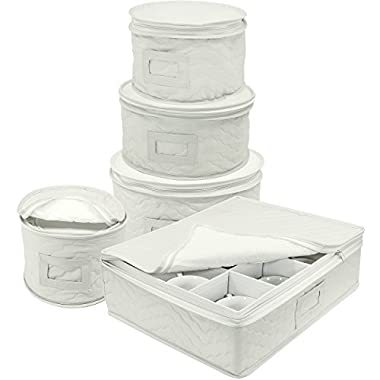 Sorbus Dinnerware Storage 5-Piece Set for Protecting or Transporting Dinnerware — Service for 12 — Round Plate and Cup Quilted Protection, Felt Protectors for Plates, Fine China Case (Beige)