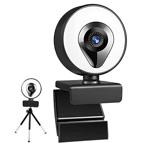 MERIGLARE Webcam com Microfone e Tripé de Luz Do Anel Ajustável Brilho para Jogos com Beleza Retocar PC Computador Portátil - 2k