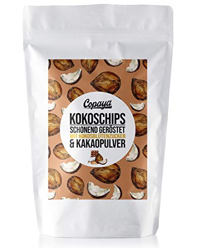 Copaya Bio Kokoschips mit Kakao, feine & knusprige Kokosnuss Chip schonend in Kokosblütenzucker und Edlem Kakao geröstet (750g)