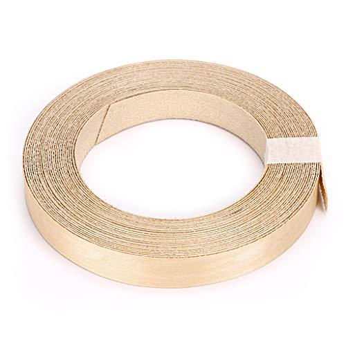 Skelang chapa de madera, cantos de chapa de madera, cinta adhesiva madera, 19 mm × 15 m para estante, armario, marco de puerta (abedul)