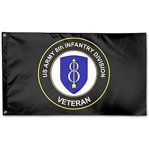 Niet toepasbare vlag voor thuis in de tuin, Veterano's uit de 8A infanterie van het Amerikaanse leger. Kleurrijke vlaggen voor de decoratie van het huis, 90 x 150 cm