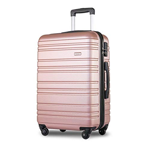FFKL Lightweight Hard Shell 4-wheel Travel Trolley Suitcase Set Luggage Compartment,Rose- 24 inches