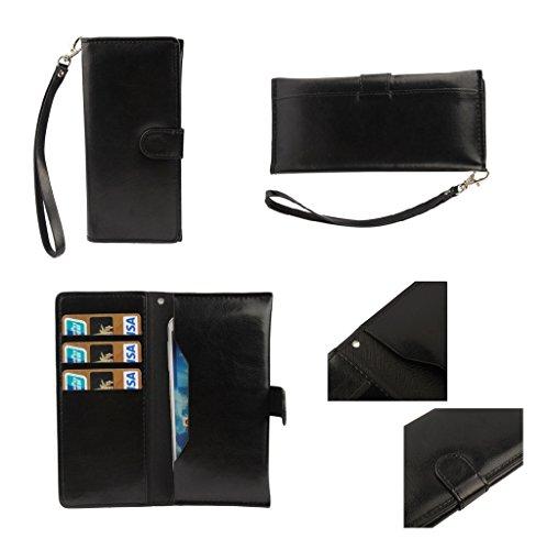 DFVmobile - Etui Tasche Schutzhülle aus Premium Kunstleder mit Kartenfächer & Magnetverschluss für Microsoft Lumia 940 - Schwarz