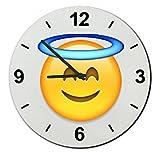 Cristal reloj 'cara feliz con un halo', regarder- Ø18- ø20- ø30- Smiley- Emoji- astuces de Navidad, cristal, 30 cm de  diámetro