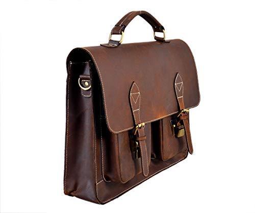Men's leather messenger bag real buffalo leather satchel briefcase laptop shoulder college office work notebook files 16 inch bag