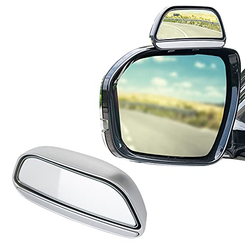 LivTee Universal Adjustable Car rearview auxiliary mirror HD Glass Wide Angle Side Rearview Mirror, Silver