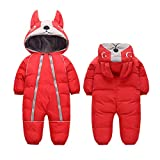 Fairy Baby Infant Boy Girl Winter Thick Romper Outwear Warm Hood Snowsuit Jumpsuit Size 3T (red)…