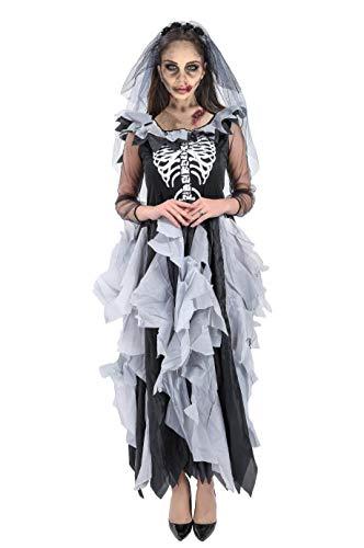 Forever Young - Lussuoso costume da sposa zombie, per donne adulte, motivo con scheletro, costume per Halloween o il Giorno dei Morti Nero e bianco 42