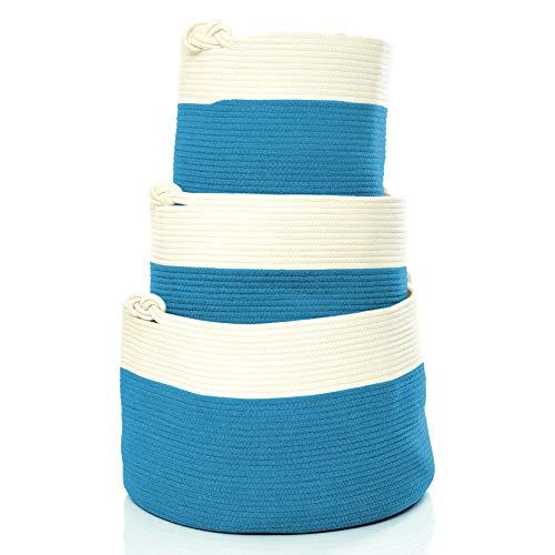 Skojig Großer Wäschekorb aus Leinen in 5 Farben (38x33cm, 35x45cm & 35x55m) - Wäschesammler Wäschesack Korb für Kinderzimmer Schlafzimmer Badezimmer   Wäschetruhe Aufbewahrungskorb Laundy Basket