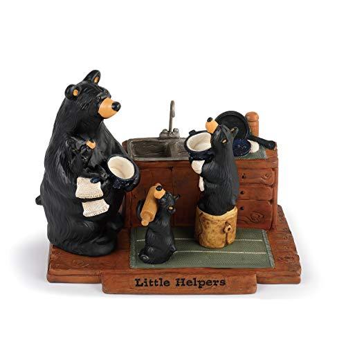 DEMDACO Little Helpers Washing Dishes Midnight Black 7 x 5 Resin Stone Figurine