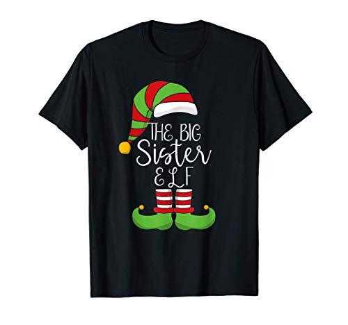 Hermana Mayor Divertida Elfo Navidad Ayudante Santas Familia Camiseta