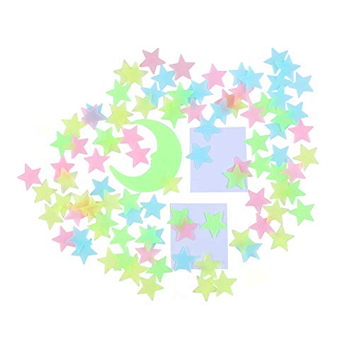 Glow in the Dark Stars Stickers for Ceiling, Adhesive 200pcs 3D Glowing Stars and Moon for Kids Bedroom,Luminous Stars Stickers Create a Realistic Starry Sky, Room Decor,Wall Stickers