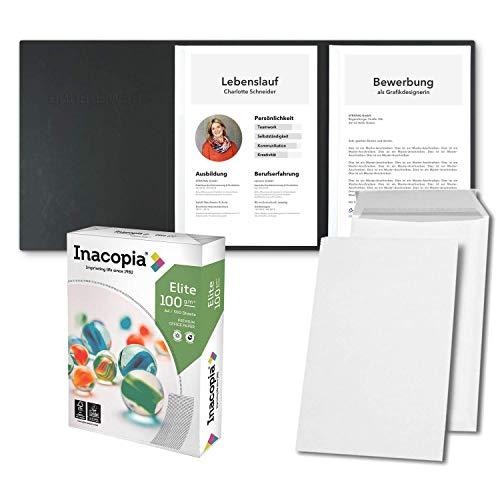 Bewerbungsset // 10 Stück 3-teilige Bewerbungsmappen Schwarz + 250 Blatt 100 g/m² Premium Bewerbungspapier + 10 Stück B4 Versandtaschen in Weiß - Das ultimative Bewerbungsmappen-Bundle - All inkl.