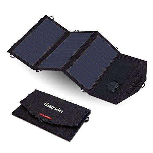 GIARIDE Faltbar Solarladegerät Tragbar Solarpanel Powerport Solar Ladegerät für Handy 18V 21W 5V USB DC Sunpower Solarpanel Outdoor,iPhone,iPad,Huawei,Anker Powerbank,Tablet,Laptop,12V Autobatterie