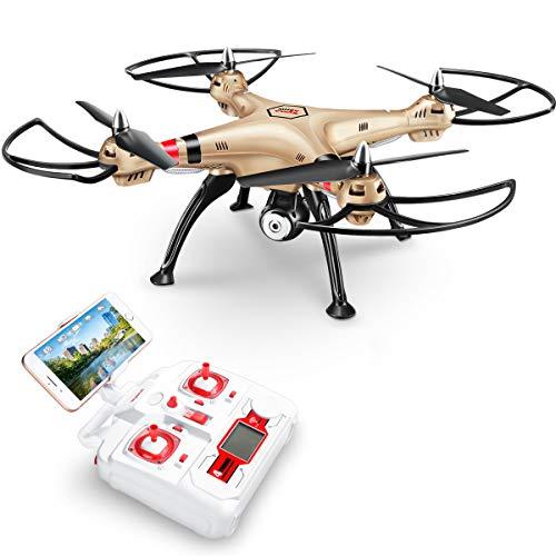 SYMA Drohne mit FPV 720P HD Kamera X8HW RC Quadrocopter 120°Aufnahmewinkel ferngesteuerte Flugzeug Wifi Live übertragung Höhehaltung, Kopflos Modi, 3D Flips&Rolls, 2 Speed Modi, Überstromschutz Golden