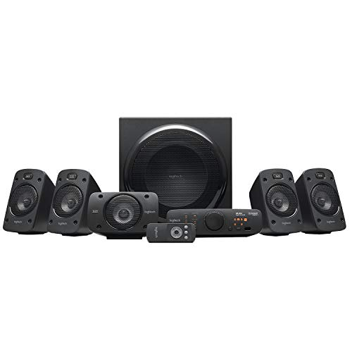 Logitech Z906 5.1 Sistema di Altoparlanti Audio Dolby Surround, Certificato THX, Dolby e DTS, 1000 Watt, Multidispositivo, Con Telecomando, Presa UK, PC/PS4/Xbox/TV/Smartphone/Tablet
