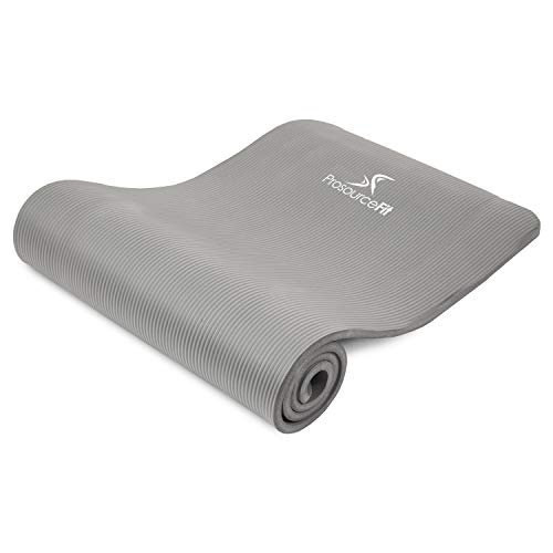 ProsourceFit Extra Thick Yoga and Pilates Mat ½ (13mm), 71-inch Long High Density Exercise Mat with Comfort Foam and Carrying Strap, Grey California