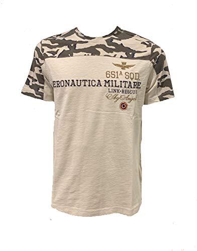 Aeronautica Militare t-Shirt TS1749, Camouflage-Sabbia, da Uomo, Maglia, Maglietta, Tshirt (M)