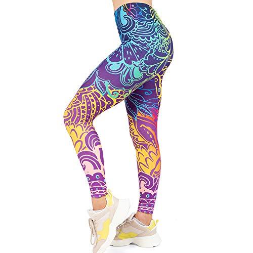 High Waisted Seamless Workout Leggings - Women's Mandala Printed Yoga Leggings, Tummy Control Running Pants Blue