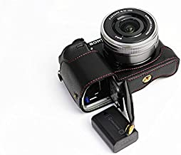 Bottom Opening Version Protective Genuine Real Leather Half Camera Case Bag Cover with Tripod Design for Sony ILCE6300 a6300 Camera with Genuine Real Leather Hand Strap Black