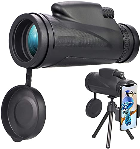 Telescopio monocular, monocular HD 12 x 50, telescopio monocular Resistente al Agua con trípode Adaptador para teléfono Inteligente, para observación de Aves