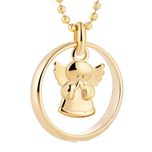 Fish - Collar para niña o niño, con cadena, plata 925dorada, colgante de ángel de la guarda, para bautizo, con caja de regalo
