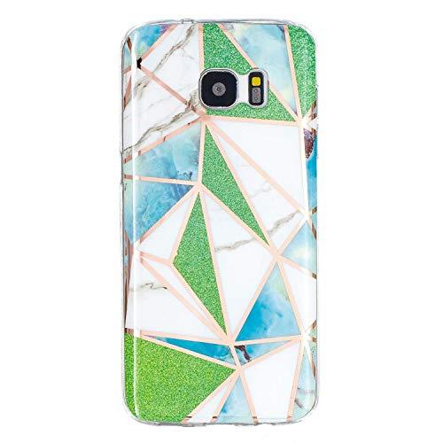 Miagon Marmor Hülle für Samsung Galaxy S7 Edge,Dünn Weich Silikon Flexible Handyhülle Schutzhülle Galvanisiert Marble Bumper Handytasche Zurück Cover Gummi,Grün Dreieck