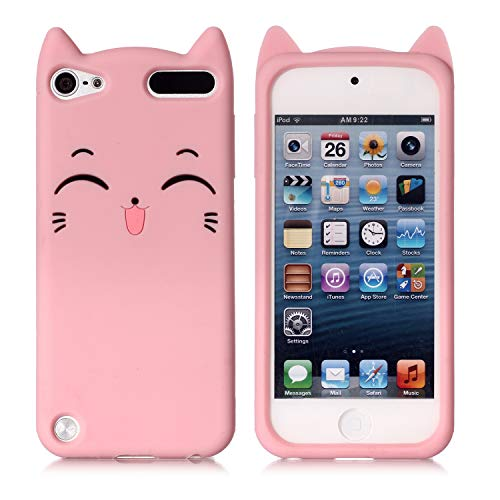iPod Touch 7 Case iPod Touch 56 Case Fashion Cute 3D Pink Meow Party Cat Kitty Kids Girls Lady Protective Cases Soft Case Skin for Apple iPod Touch 56th and iPod Touch 7