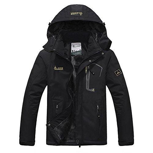 Softshelljacke Herren Gefüttert Funktionsjacke Wasserdicht Atmungsaktiv Wandern Outdoor Jacke Winter Skijacke Schwarz, Gr. EU-S/Asia-L