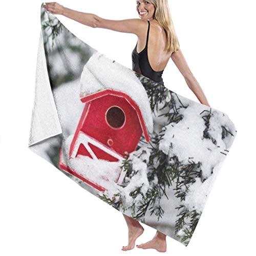 wusond Toalla de baño Microfibra Super Suave Toalla de baño Red Barn Birdhouse Covered Snow Evergreen Alta absorción de Agua, Multiuso 80cm * 130cm para baños, hoteles, gimnasios y SPA