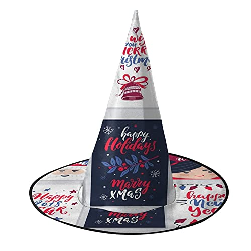 Damas de Navidad de da festivo para adultos de Halloween de fiesta de lujo sombrero de bruja hebilla negro