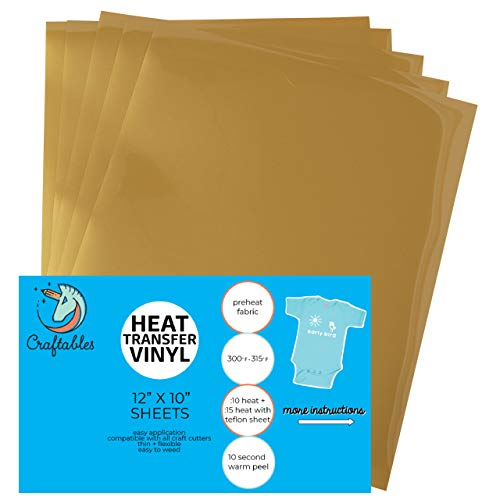 Craftables Gold Heat Transfer Vinyl HTV - 5 Sheets Easy to Weed Tshirt Iron on Vinyl for Silhouette Cameo, Cricut, All Craft Cutters. Ships Flat