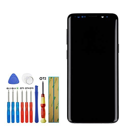 swark Pantalla táctil Super AMOLED compatible con Samsung Galaxy S9 G960F G960FD G960U G950W de 5,8 pulgadas (negro + marco) con herramientas