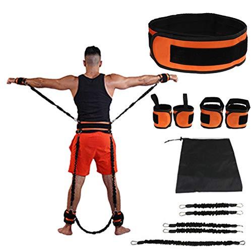 Vertical Jump Trainer Beinstärkungs-Widerstandsbänder Set - Bikini Butt Booty Band - mit Gürtel, Knöchelring, für zu Hause Yoga Boxen Explosive Power Workout