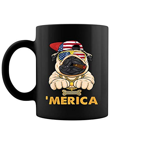 4th July Gift Men Women Kids Merica Pug Usa Flag Coffee Mug 11 Oz