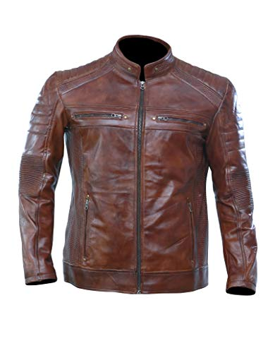 Artistry Leather Brown Leather Jacket Men for Bikers | Genuine Lambskin Waxed Cafe Racer Vintage Motorcycle Jackets