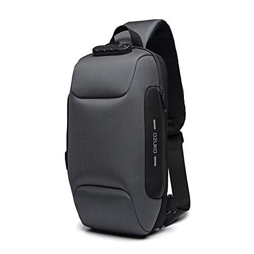 OZUKO Multifunzione Crossbody Bag Sling Bag, Borsa a Spalla Uomo Zaino Antifurto Impermeabile Spalla Sling Bag Zaino con USB Porta (Grigio Scuro)