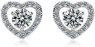 Women crystal jewelry heart-shaped exquisite small earrings stud white gold plated JINE31