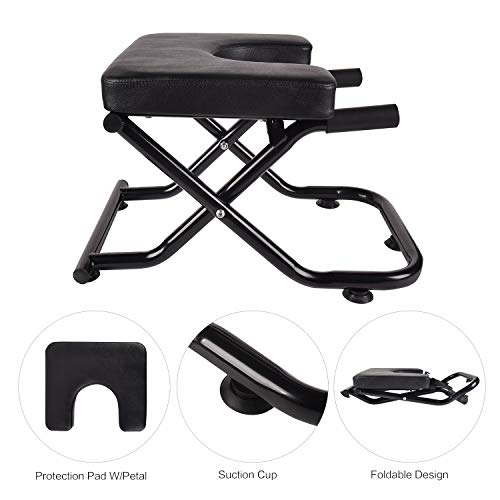 YU YUSING Yoga Headstand Inversion Bench with Suction Cup, Fitness Stand Yoga Chair for feet up Yoga Trainer Leg Stool Workouts for Family, Gym (Black with The Petals)