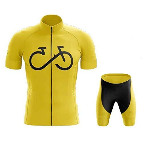 BEDSETS Herren Radtrikot Set Kurzarm Radlerhose Mit Sitzpolster Aus Atmungsaktiv Und Schnell Trockend Stoff Für Fahrrad Rennrad MTB (Gelb 2,5XL)