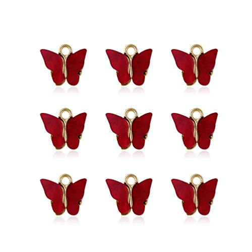 Cotton Cat 10 Pcs Acrylic Butterfly Pendant Butterfly Charms for Jewelry DIY Necklace Bracelet Earring Making Crafting Accessory red