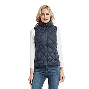 CROYEE Women's Lightweight Padded Puffer Vest Winter Warm Stand Collar Sleeveless Coat