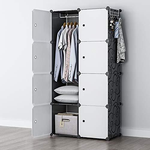 armoire organizers GEORGE&DANIS Portable Closet Wardrobe Cube Storage Cube Organizer Cube Shelf Armoire Bedroom Dresser Pantry Cabinet (28x18x56 inches) 2x4 Tiers, Black